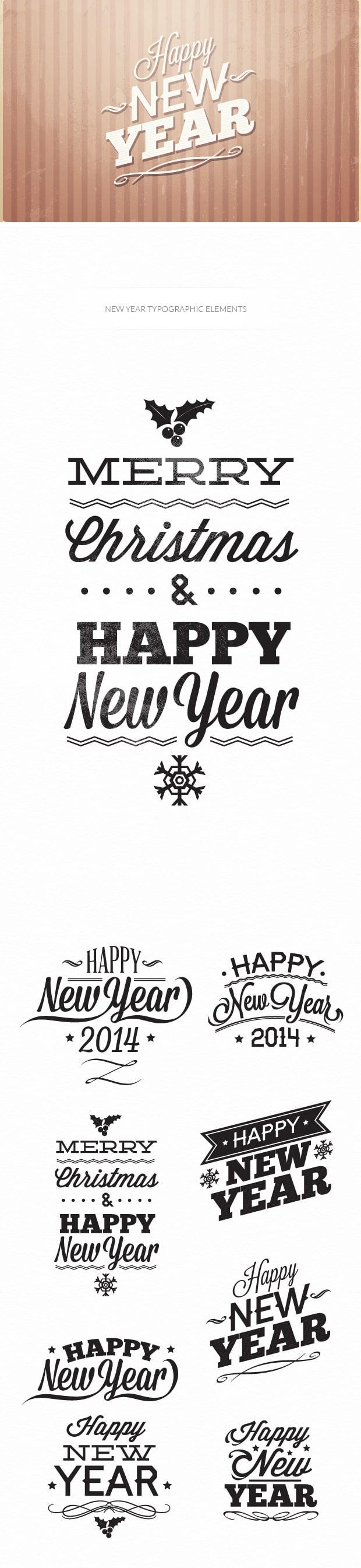 New year's eve typographic elements 6