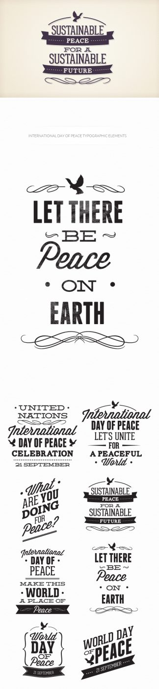 International day of peace typographic elements Freebies peace