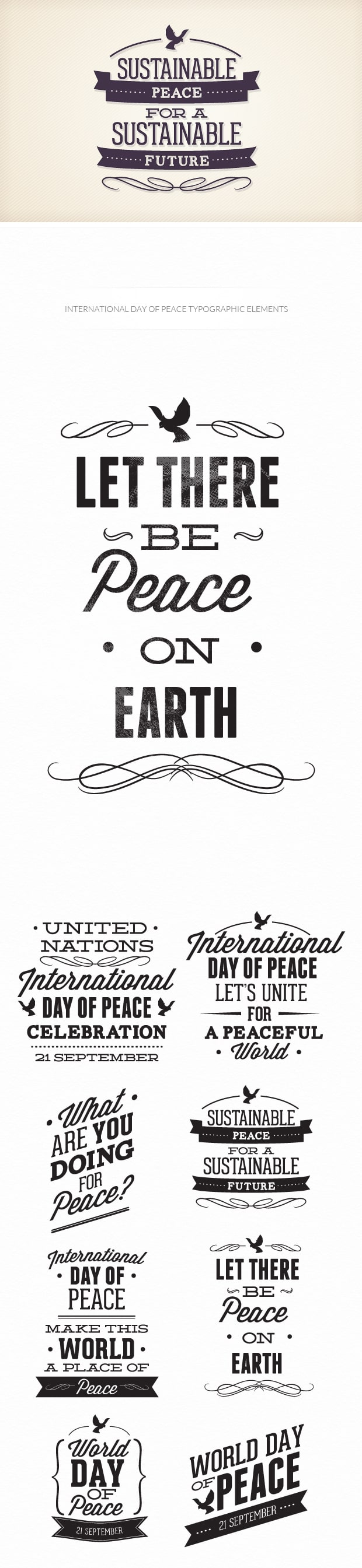 International day of peace typographic elements TypeZilla peace preview