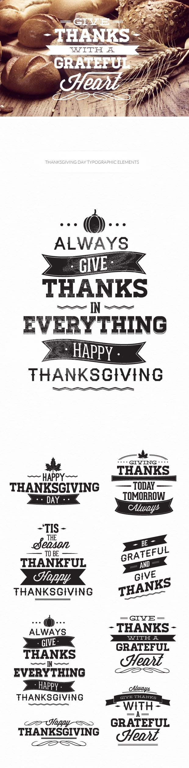 Thanksgiving typographic elements TypeZilla thanksgiving preview