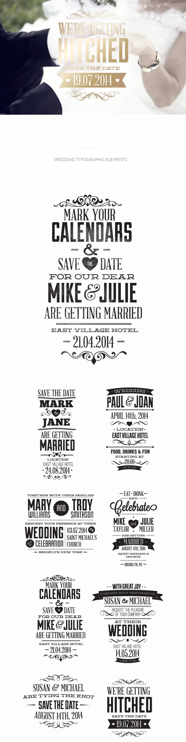 Free Wedding Typographic Elements 6