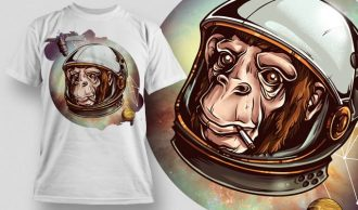 T-Shirt Design Plus – Cosmic Chimp T-shirt Designs and Templates vector