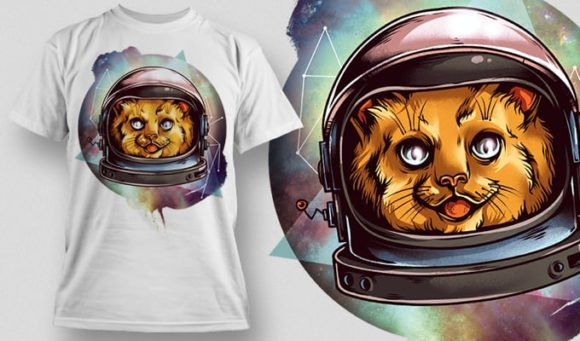 T-Shirt Design Plus – Cosmic Kitty T-shirt Designs and Templates vector