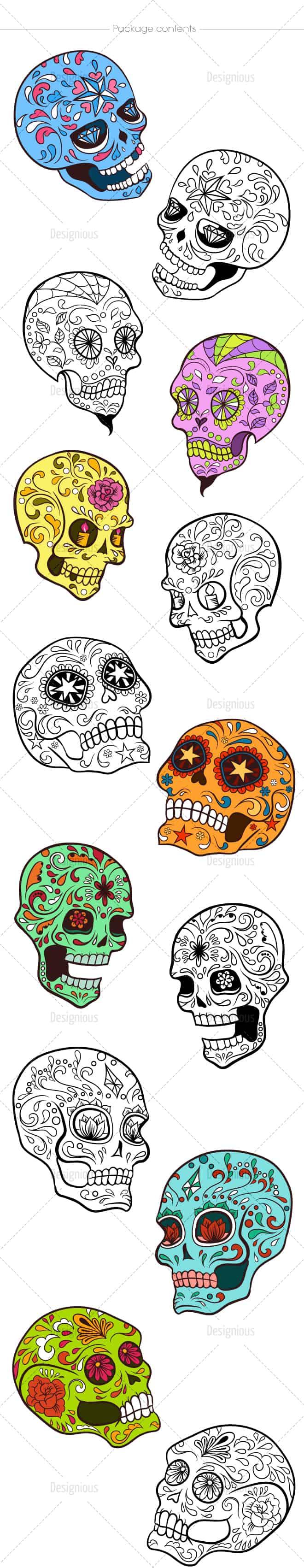 Sugar Skulls Vector Pack 38 2