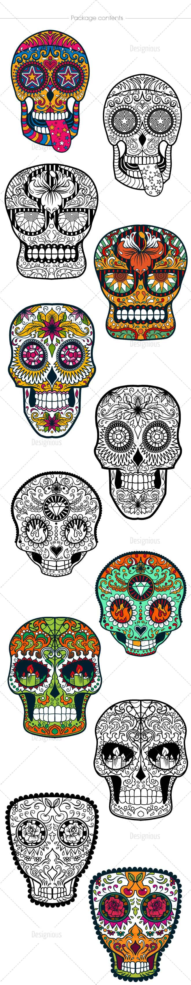 Sugar Skulls Vector Pack 39 designious vector sugar skulls 39 large