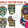 Sugar Skulls Vector Pack 38 designious vector sugar skulls 39 small