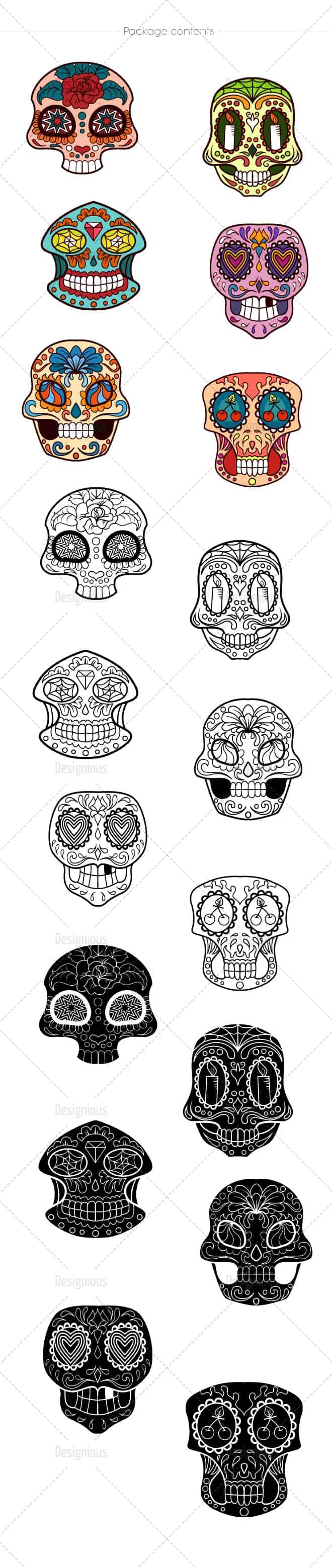 Sugar Skulls Vector Pack 40 designious vector sugar skulls 40 large