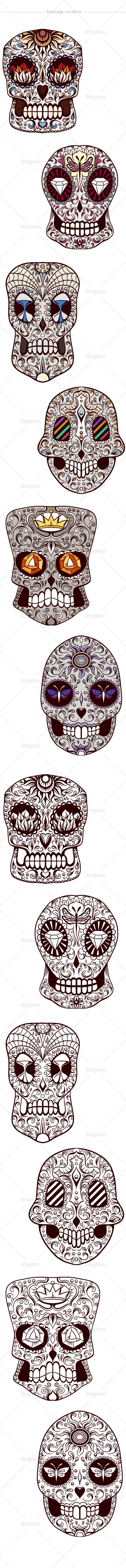 Sugar Skulls Vector Pack 44 designious vector sugar skulls 44 large