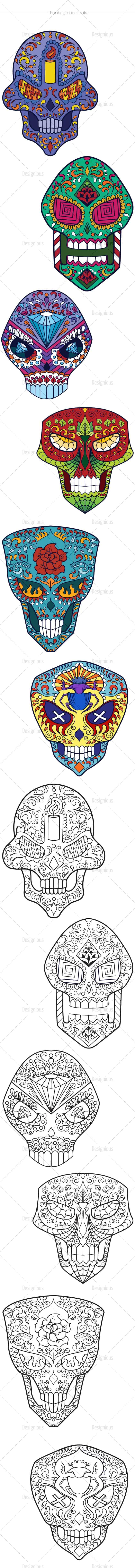 Sugar Skulls Vector Pack 46 designious vector sugar skulls 46 large
