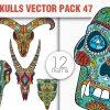 Sugar Skulls Vector Pack 42 designious vector sugar skulls 47 small