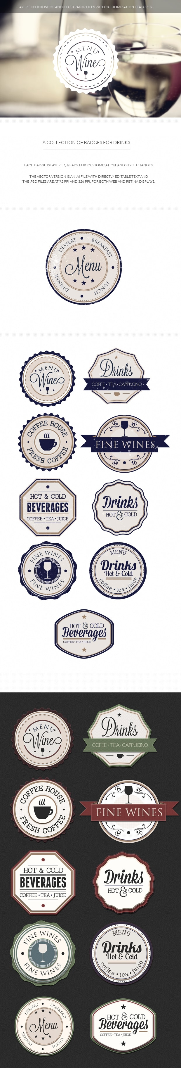 Drinks badges set 1 drinks