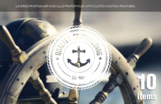 Nautical Badges Vol 1 Vector packs sea