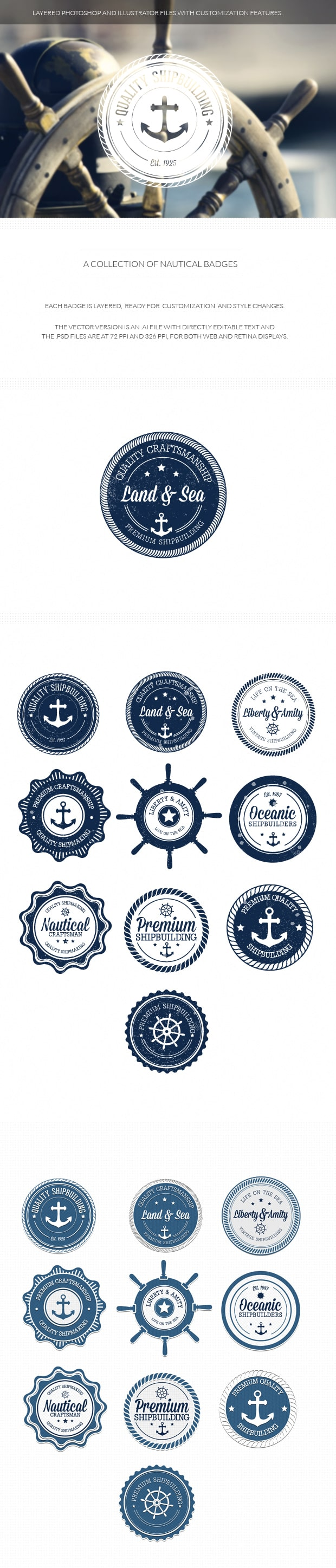 Nautical badges set 1 nautical