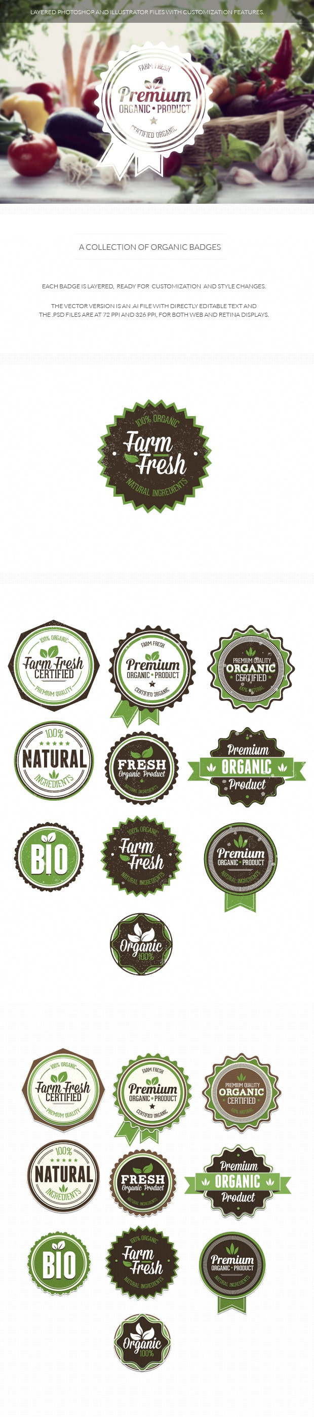Organic and Eco badges organic