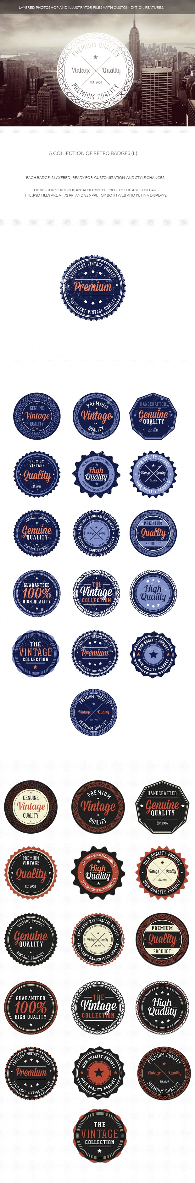 Retro badges set 2 retro 2