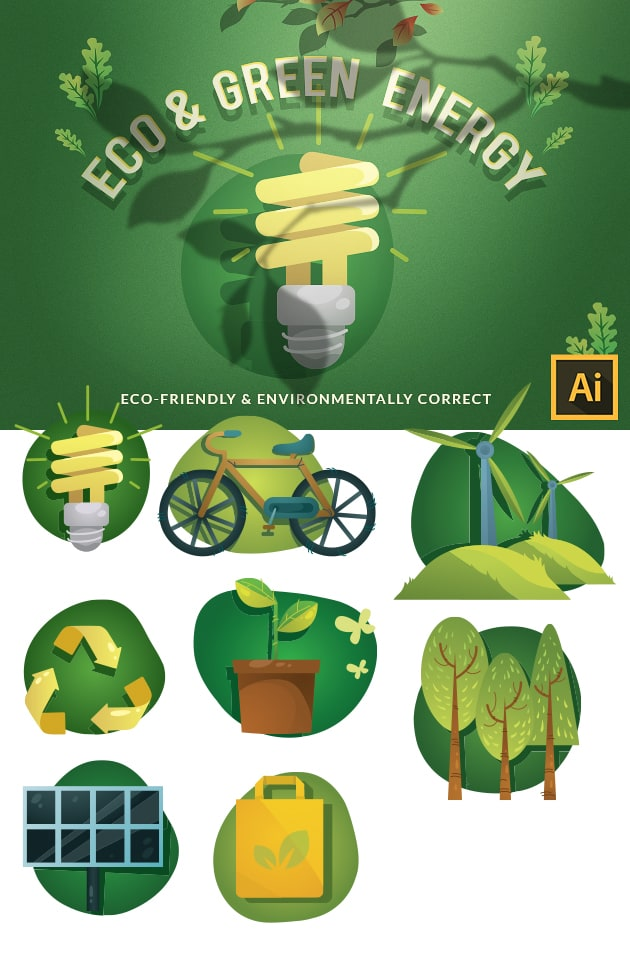 Eco & Green Energy Vector Set vector ecology 2 large