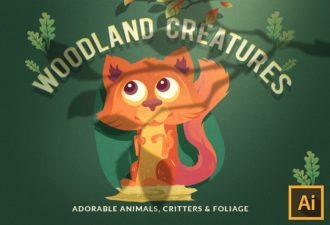 Woodland Creatures Vector Set Vector packs vector