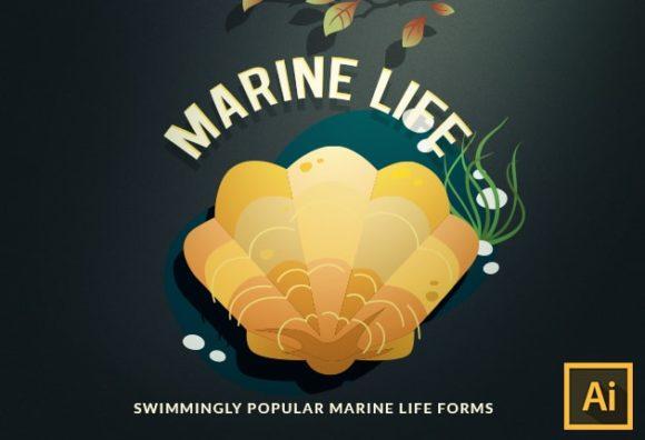 Marine Life Vector Set vector marine life 2 small