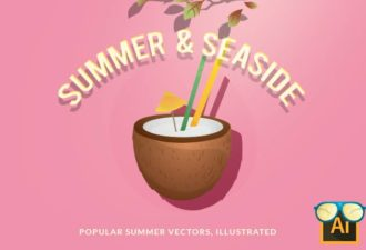 Summer and Seaside Vector Set Vector packs palm tree