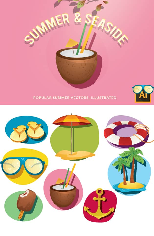 Summer and Seaside Vector Set vector summer and seaside 2 large