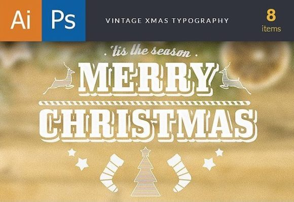 Vintage Xmas Typography preview holiday large copy
