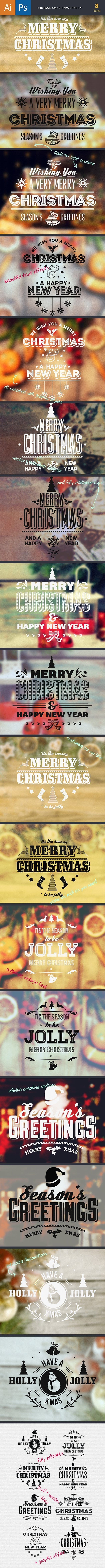 Vintage Xmas Typography preview holiday large