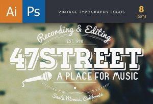 Vintage Typography Logos Set 1 Freebies typography