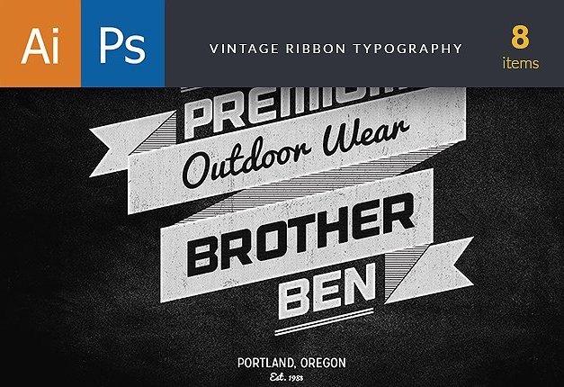 Vintage Ribbons Typography Freebies typography