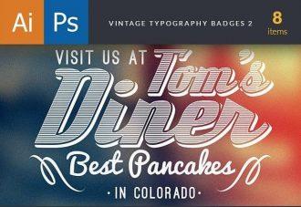 Vintage Typography Badges Set 2 Freebies vintage