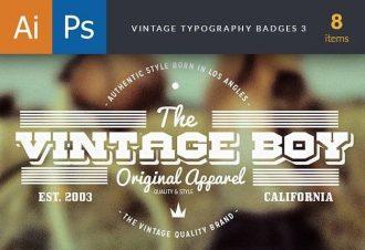 Vintage Typography Badges Set 3 Freebies vintage
