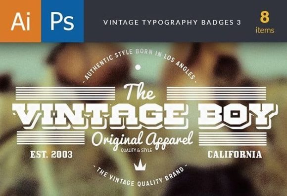 Vintage Typography Badges Set 3 preview type badges 3 large copy