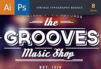 Vintage Typography Badges Set 1 Freebies vintage