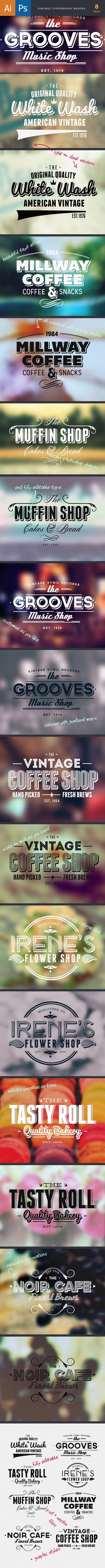 Vintage Typography Badges Set 1 2