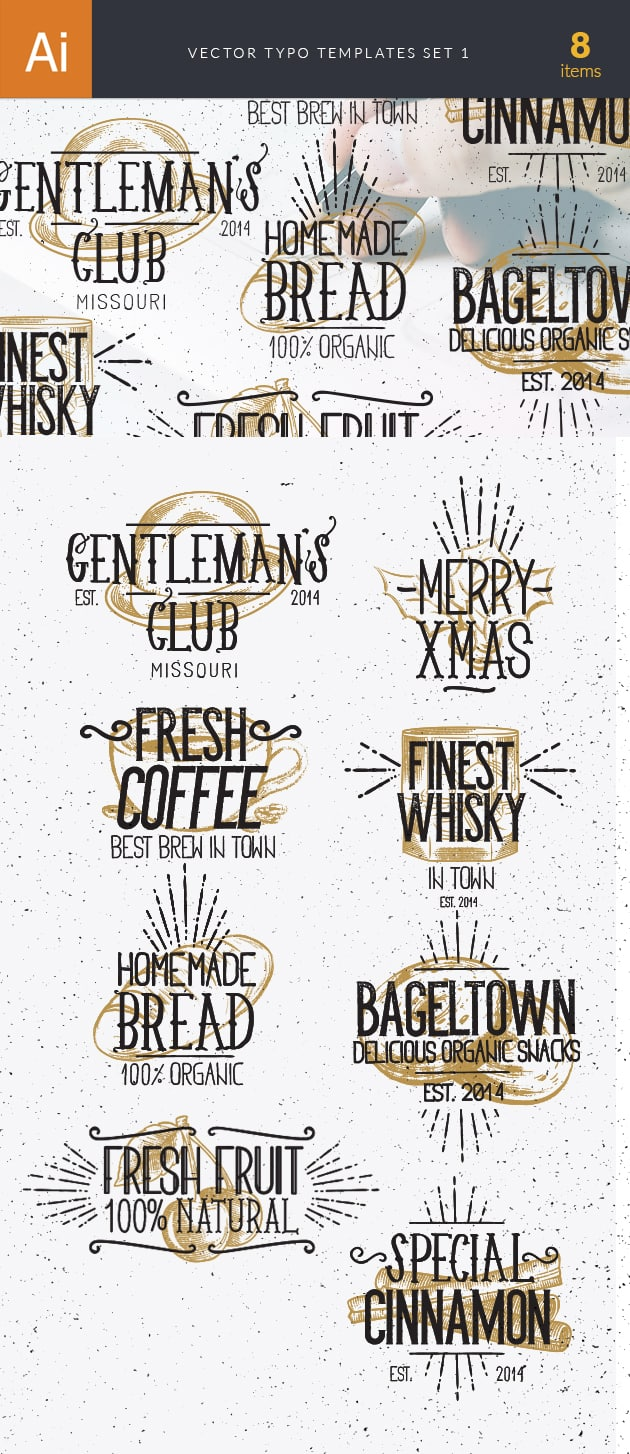 Vector Typography Templates Set 1 vector typography templates 1 preview large