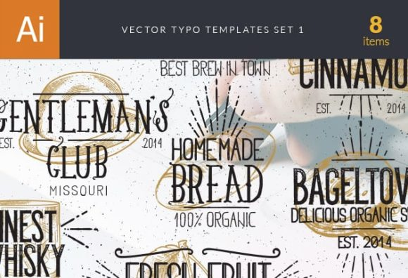 Vector Typography Templates Set 1 vector typography templates 1 preview small