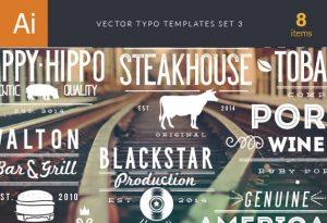 Vector Typography Templates Set 3 Freebies wine