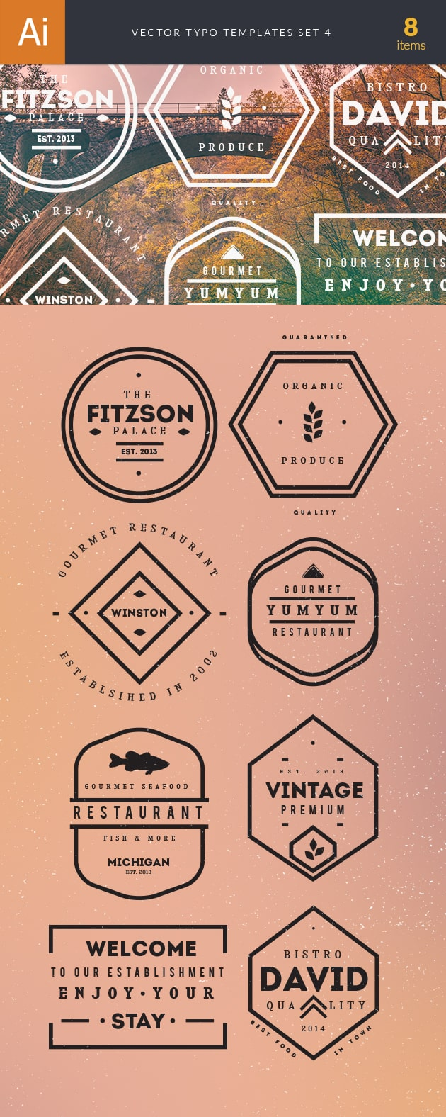 Vector Typography Templates Set 4 2