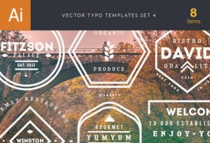 Vector Typography Templates Set 4 Freebies vintage