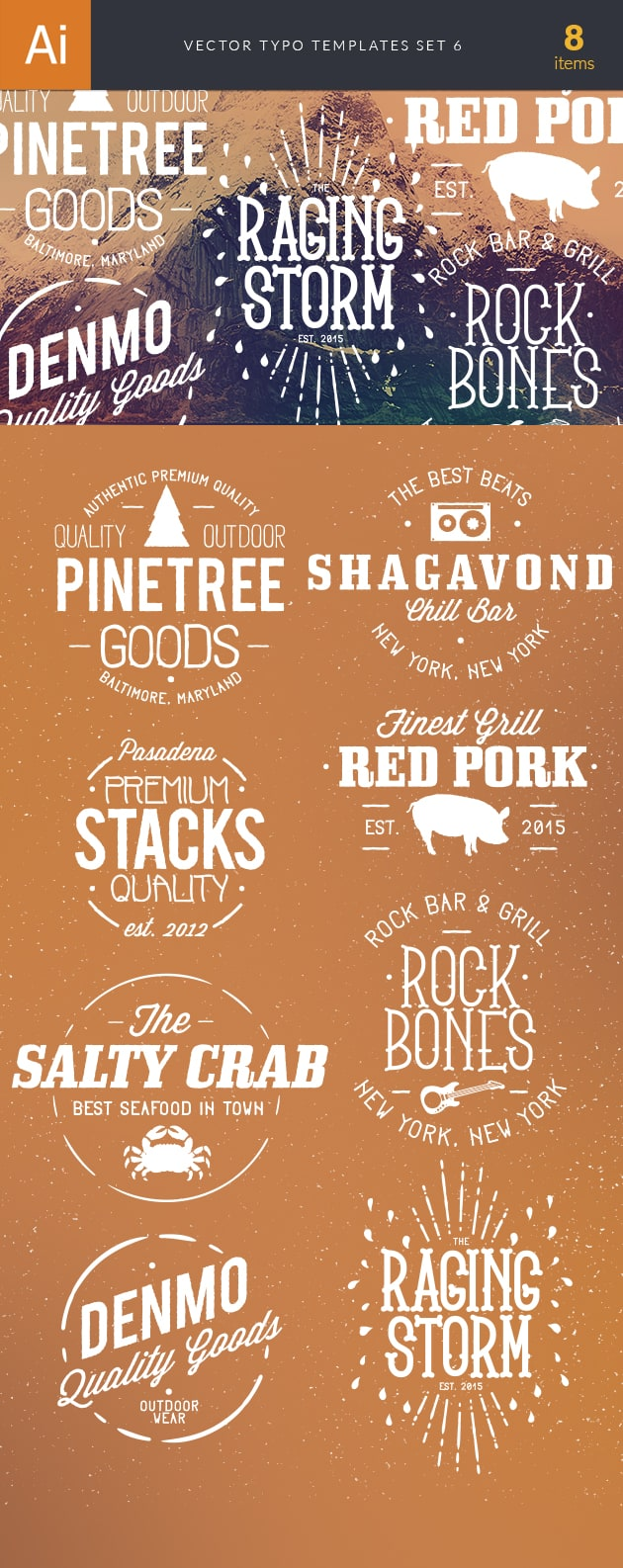 Vector Typography Templates Set 6 vector typography templates 6 preview large