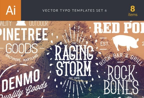 Vector Typography Templates Set 6 vector typography templates 6 preview small