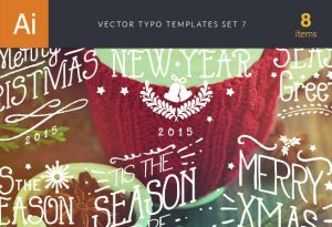 Vector Typography Templates Set 7 Freebies christmas