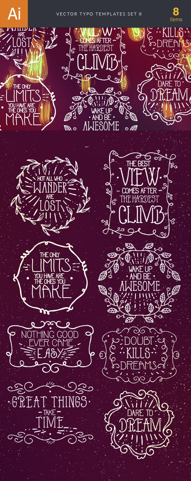 Vector Typography Templates Set 8 vector typography templates 8 preview large