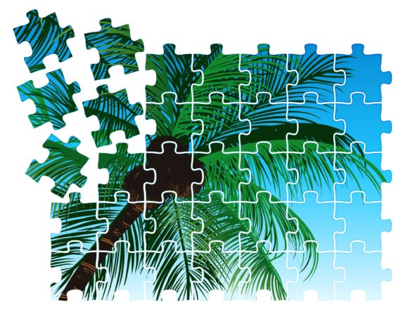 Vector Summer Puzzle With Palm Trees 1