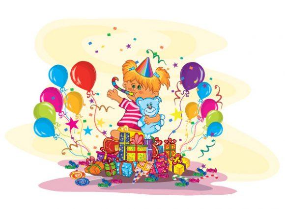 New Kids Eps Vector: Kids Birthday Party Eps Vector Illustration 5