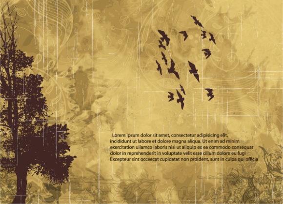 Tree, Illustration Vector Illustration Grunge Background With Tree Vector Illustration 01 08 2011 71