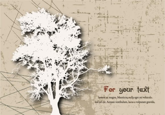Lovely Grunge Vector: Grunge Background With Tree Vector Illustration 5