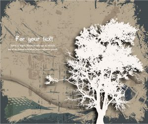 Grunge Background With Tree Vector Illustration Vector Illustrations tree