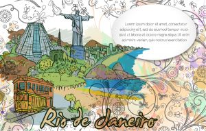 Rio De Janeiro Doodles With Floral Vector Illustration Vector Illustrations sea