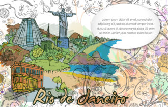 Rio De Janeiro Doodles With Floral Vector Illustration Vector Illustrations sea