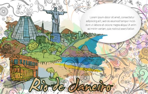 Amazing Vector Vector: Rio De Janeiro Doodles With Floral Vector Illustration 02 06 2011 2